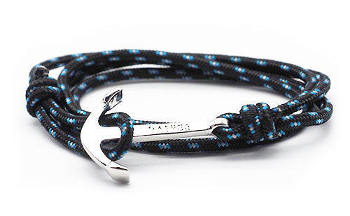 The Art Black & Blue Silver Anchor & Rope Bracelet