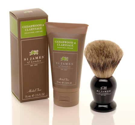 Saint James of London shave kit with shave cream and brush