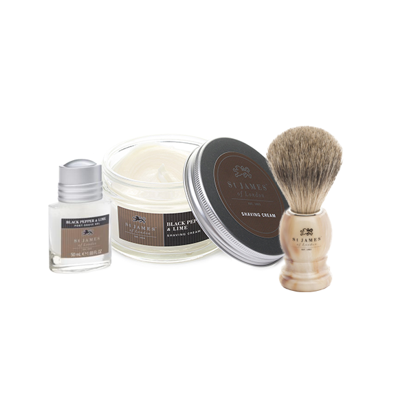 Saint James of London shave kit with shave cream, post shave gel and brush