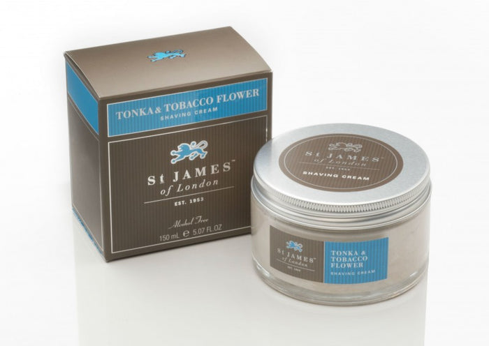 St James of London, St James Tonka and Tabacco Flower Shave Cream Jar 150ml