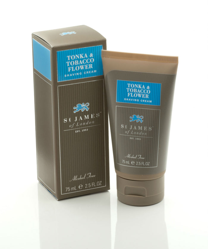 St James of London, St James Tonka and Tabacco Flower Shave Cream Travel Tube 75ml
