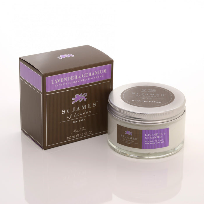 St James of London, St James Lavender and Geranium Shave Cream Jar 150ml