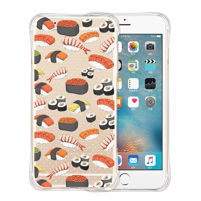 New Security Airbag Phone Case for iPhone SE 5 6 6Plus 7 Plus Cute Nutella Sushi Salmon Transparent Soft Skin Cell Phone Cases