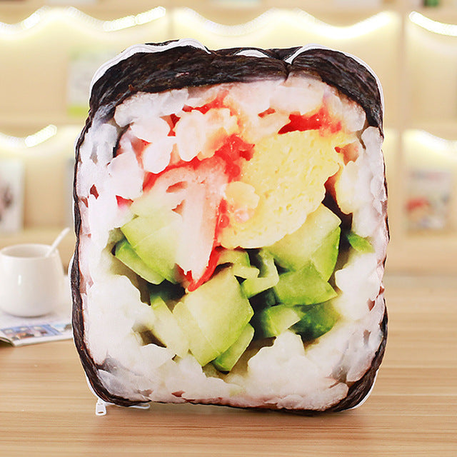 BOOKFONG 1PC New Novelty Toy Simulated Sushi Bread Food Pillow Plush Toy Creative Soft 2 IN 1 Pillow Quilt Gift Toys
