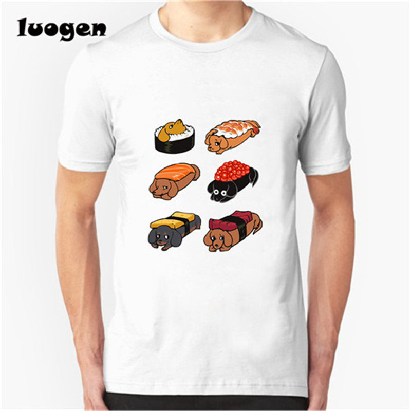 Funny Creative Frenchie Pug Daschunds Sushi Design T-Shirt Fashion Animal Food Printed T Shirt Men Male Novelty Hipster Tee Tops