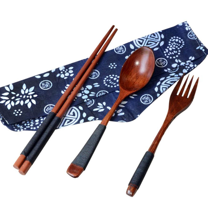 New Eco-friendly Japanese Style Vintage Wooden Bento Lancheira  Chop sticks Teaspoons Fork Tableware Dinnerware 3pc Set New Gift