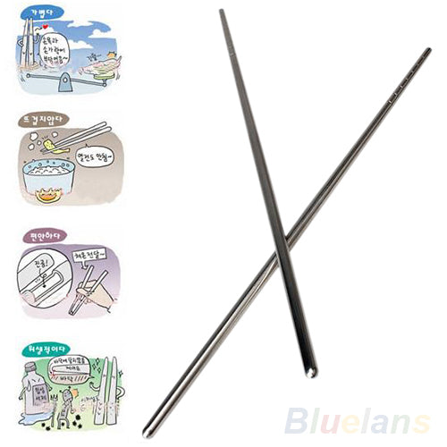 NEW Types Chinese Style Thread Stylish Non-slip Design Stainless Steel Chop Sticks Chopsticks Environment Hollow BIE9