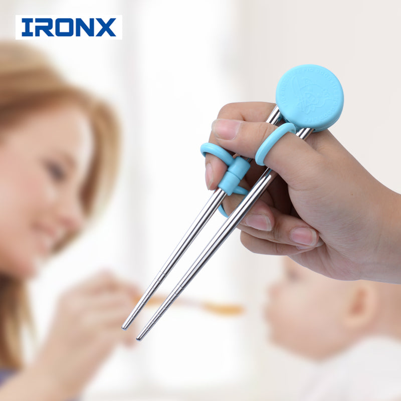 IRONX  Learning Training Chopsticks Stainless Steel  Chop Sticks For Child Enlightenment Cute Pig