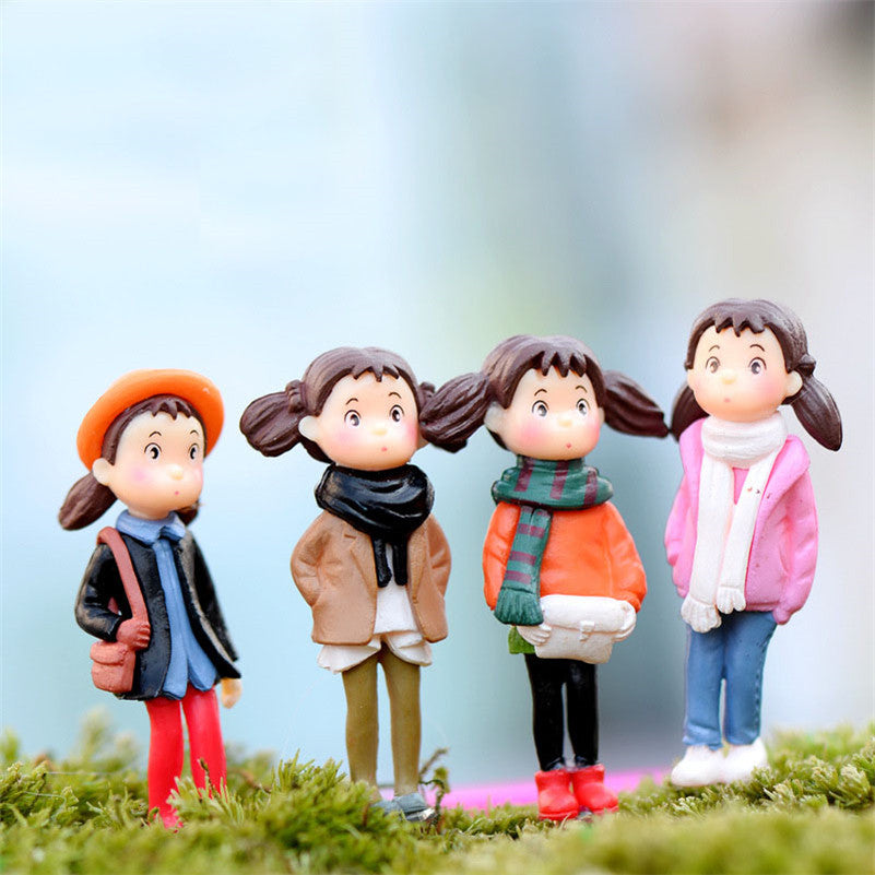 4pcs Mini Resin Crafts Figurin For Micro Landscape Character Microlandschaft Pot Culture Tool Garden Decoration Home Decor 1*4cm