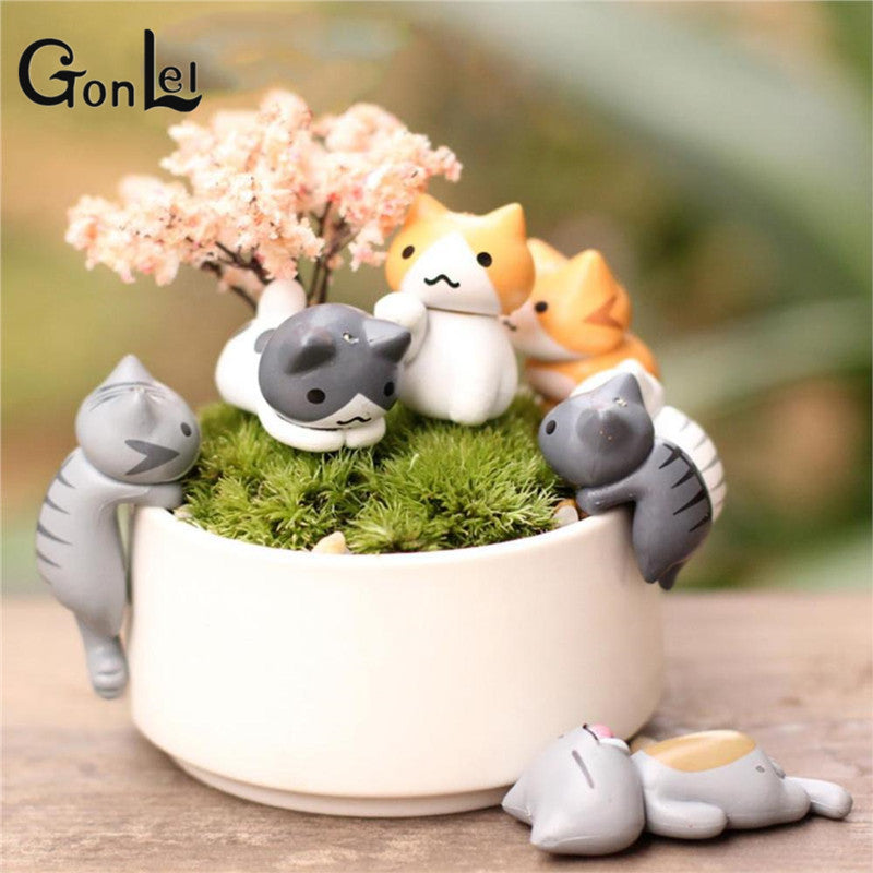 GonLeI 6 Pcs/Set Cute Cartoon Lazy Cats For Micro Landscape Kitten Action Figures Pot Culture Tools Garden Decorations Z448