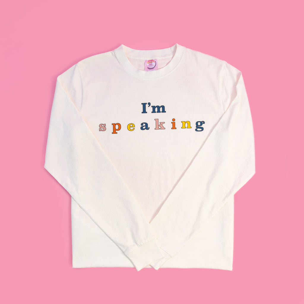 "Pre-shrunk 100% Organic Cotton long sleeve tee Men's/ unisex sizing, true to size for you would normally wear in a men's tee ""I'm speaking"" printed on front in multiple fall colors."