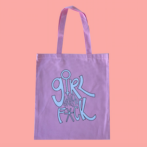 Pink tote bag. 100% cotton. Tote bag has GRL Who Gives a F*CK printed on it.