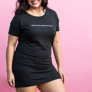 Mind Like Frida. Moves Like Selena. Black t-shirt dress. Designed by Latina clothing brand GRL Collective.