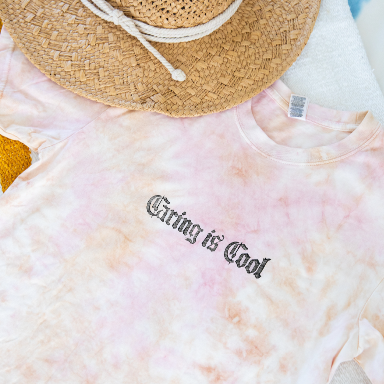 Caring Is Cool Tie Dye Unisex Tee- GRL Collective
