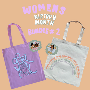 Women's History gift bundle. Canvas totes, I'm With Them sticker & AOC For Prez sticker.. All made in Los Angeles by Latina clothing brand GRL Collective.