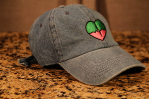 Denim Dad Hat w/ Green & Pink Logo