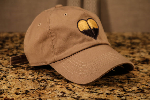 Khaki Dad Hat w/ Yellow & Black Logo