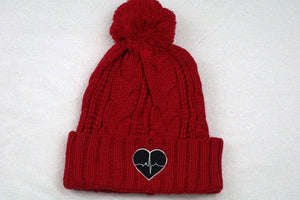 Red Knitted Beanie w/ Black Logo