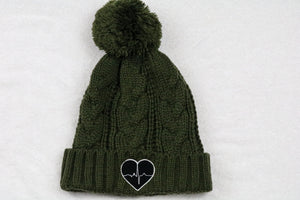 Green Knitted Beanie w/ Black Logo