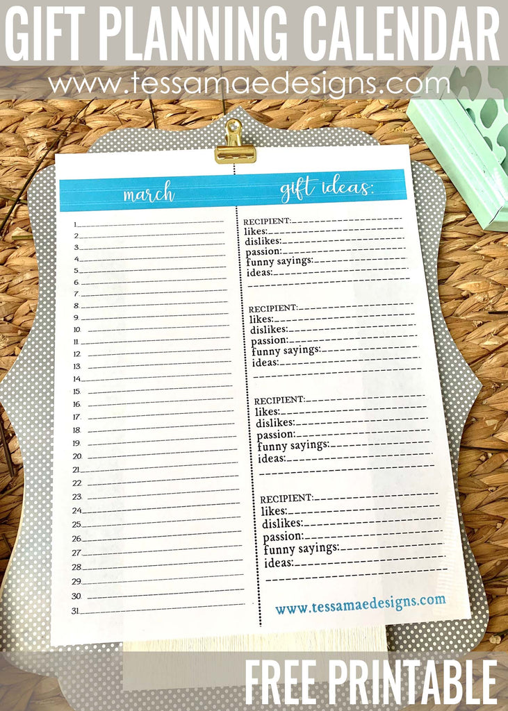 Plan Perfectly & FREE Printable Gift Planning Calendar