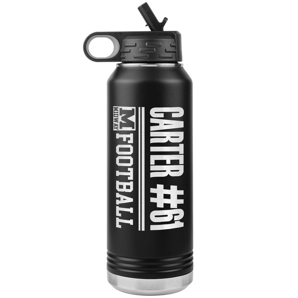 Midway ISD Sport & Activity Customized Laser-Etched 32 oz Stainless-Steel Water Bottle
