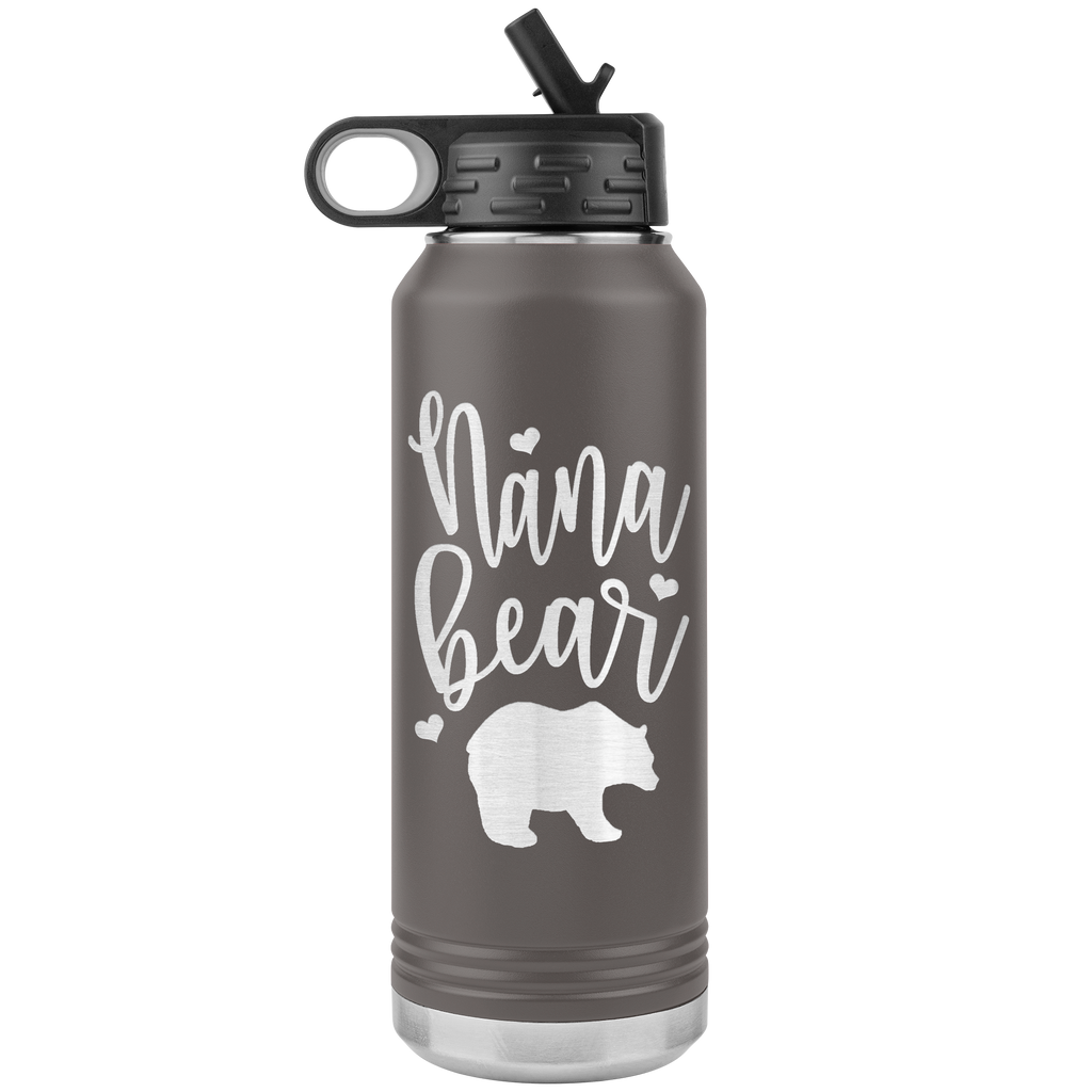 Nana Bear - 32oz Stainless Steel Water Bottle for Nana, Grandma, Grandmothers - Straw & Wide Mouth Lid - Keeps Liquids Hot or Cold - Double Wall Vacuum Insulated Sweat Proof Sport Design