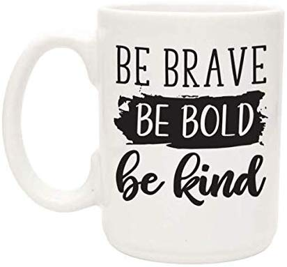 Inspirational Coffee Mugs for women - 15 oz White Coffee Cup - Great Be Kind Kindness Gift for Her for Christmas, Birthday