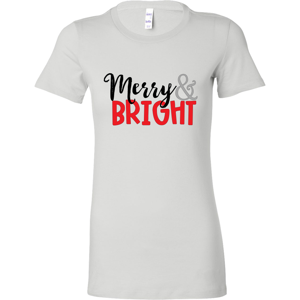 Merry & Bright Women's Fitted T-shirt - Cute Christmas Holiday Shirt