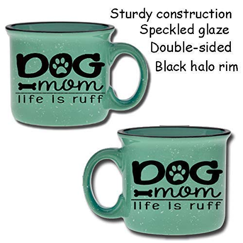 Dog Mom Life is Ruff Ceramic Camper Coffee Mug- Teal 14 oz Large Coffee Cup - Novelty Mugs are Perfect Gift for Women, Mom, Her, Dog Lover, Dog Stuff Under $20