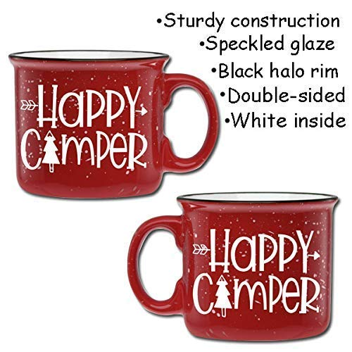 Happy Camper Ceramic Camper Coffee Mug- Red 14 oz Large Coffee Cup - Novelty Mugs are Perfect Gift for Women, Mom, Teachers Under $20