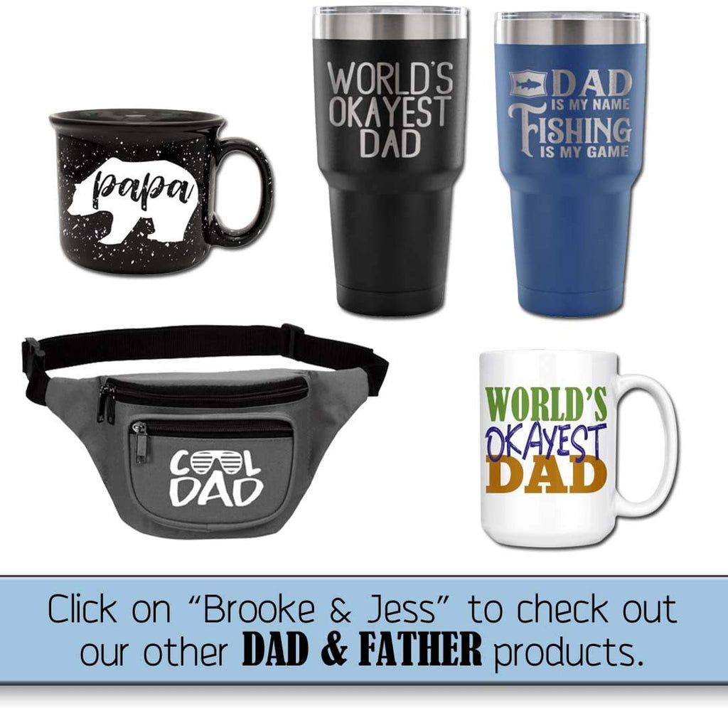 Fun, Unique, Custom Designed Stainless Steel Vacuum Powder Coated Insulated Tumbler - Great Gift for Dad, Father, Men, Papa, Grandpa (Cool Dad Black, 20 oz)