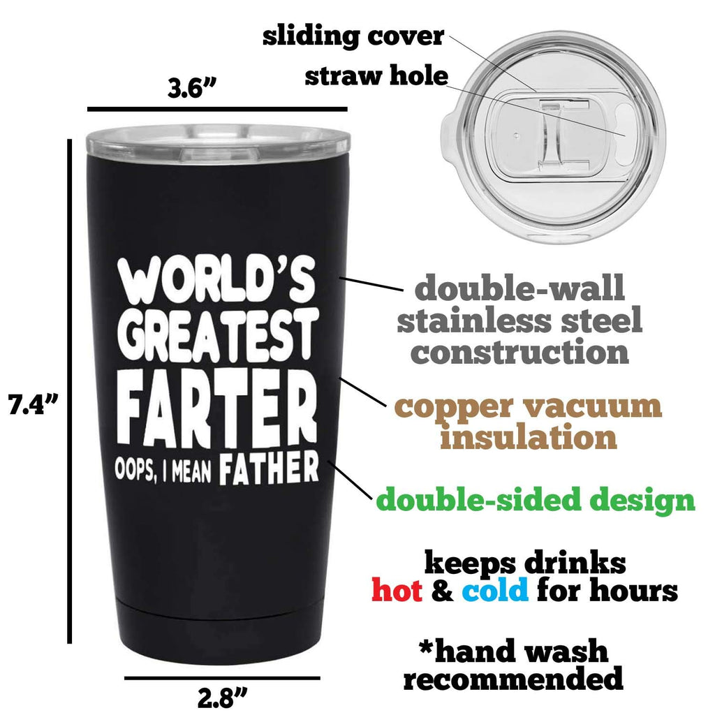 World's Greatest Farter Black Tumbler for Dad - Fun, Unique, Custom Designed Stainless Steel Copper Vacuum Insulated 20 oz Tumbler - Great Gift for Dad, Father, Men, Papa, Grandpa