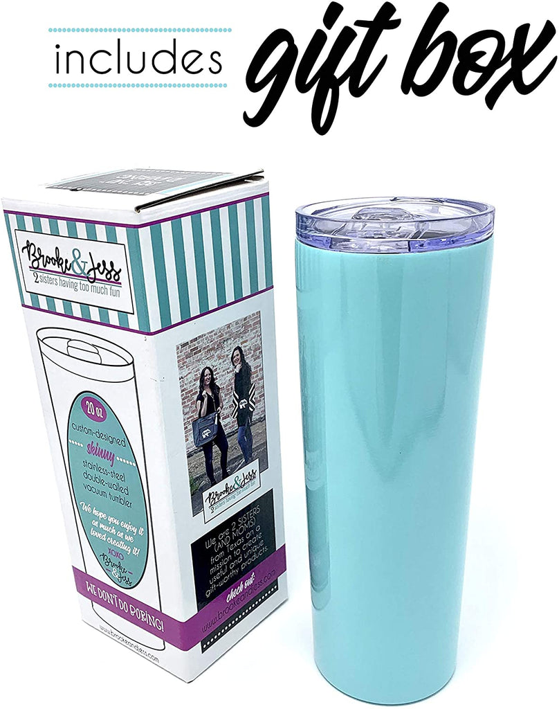 Mama Bear Teal Skinny Double Walled Vacuum Sealed Stainless Steel 20 oz Tumbler