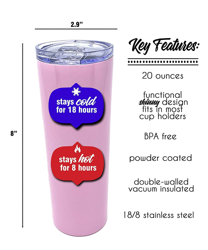 Cute, Fun, Unique Tumblers for Women - Double Walled Vacuum Sealed Stainless Steel 20 oz Tumbler - Great Gift for Women, Bosses, Coworkers, Dog Lovers, Wife, Girlfriends (Boss Lady Pink)