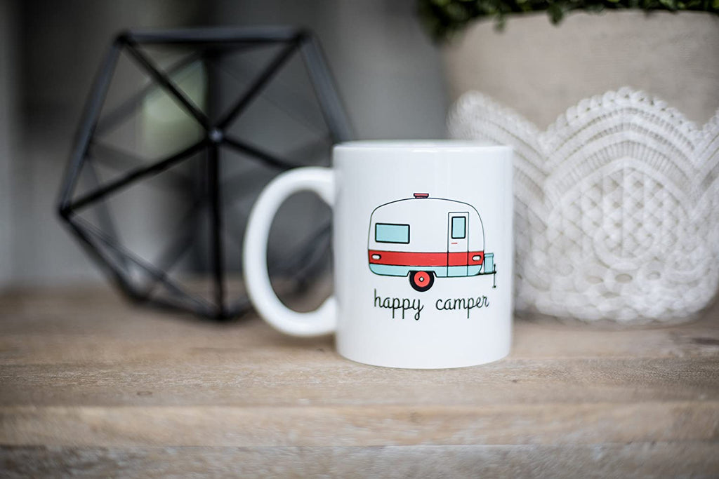 Happy Camper Funny Coffee Mug- White 11 oz Coffee Cup - Novelty Mugs are Perfect Gift for Women, Mom, Teachers Under $20