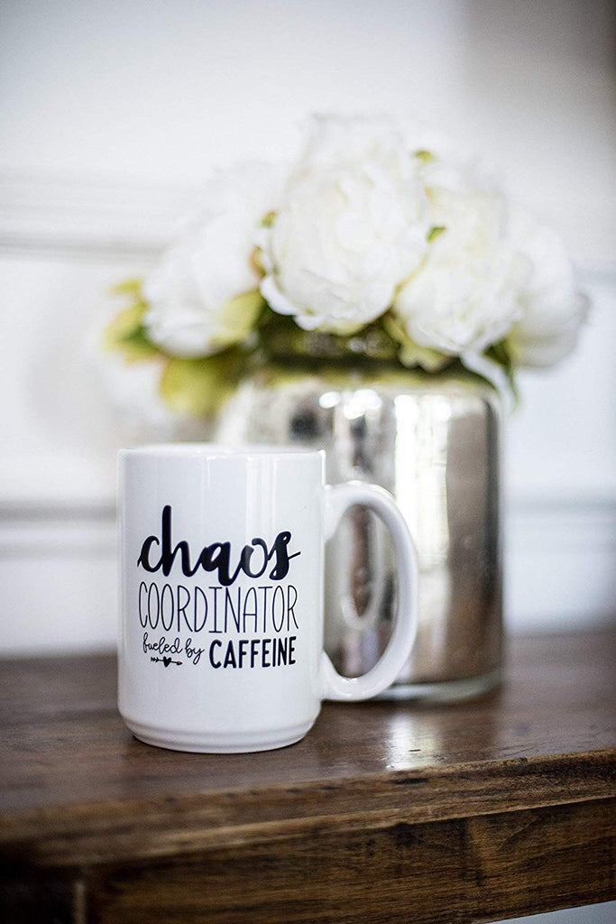 Cute Funny Coffee Mug for Women - Chaos Coordinator Fueled By Caffeine - Unique Fun Gifts for Her, Mom, Sister, Teacher, Coworkers Under $20 - Handmade Coffee Cups & Mugs with Quotes, 15 oz