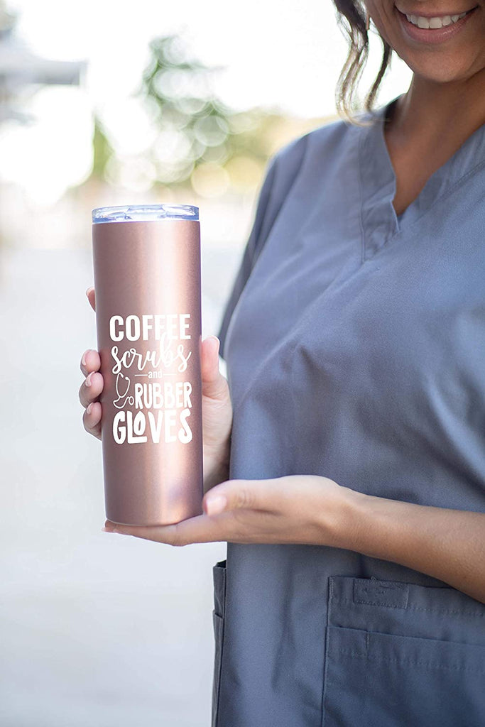 Coffee, Scrubs, Rubber Gloves Rose Gold Tumbler - Fun Unique Tumblers for Nurses - Double Walled Stainless Steel - Great Gift for Nurses, Nursing Students, Medical Asssitants (Coffee Scrubs Rose Gold)