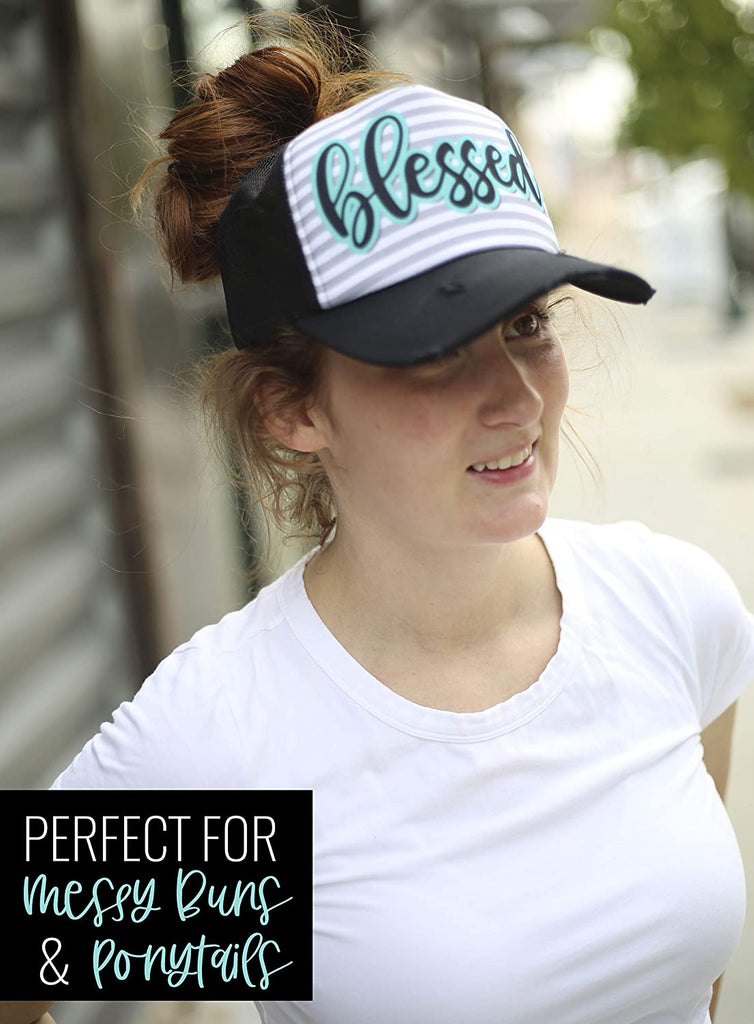 Trucker Ponytail Hats for Women - Cute Baseball Caps - Snapback Beach Hat for Moms, Dog Lovers, Boss