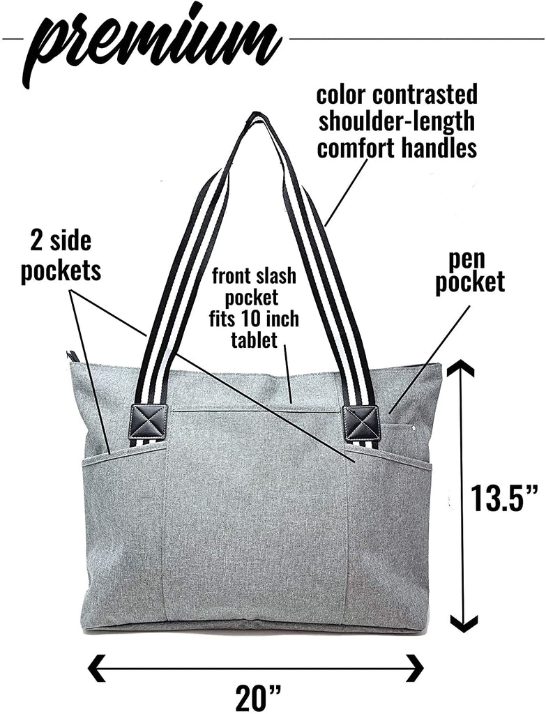 Large Zippered Tote Bags with Pockets for Women - Perfect for Work, Travel, Gifts for Nurses, Teachers, Moms, Grandma