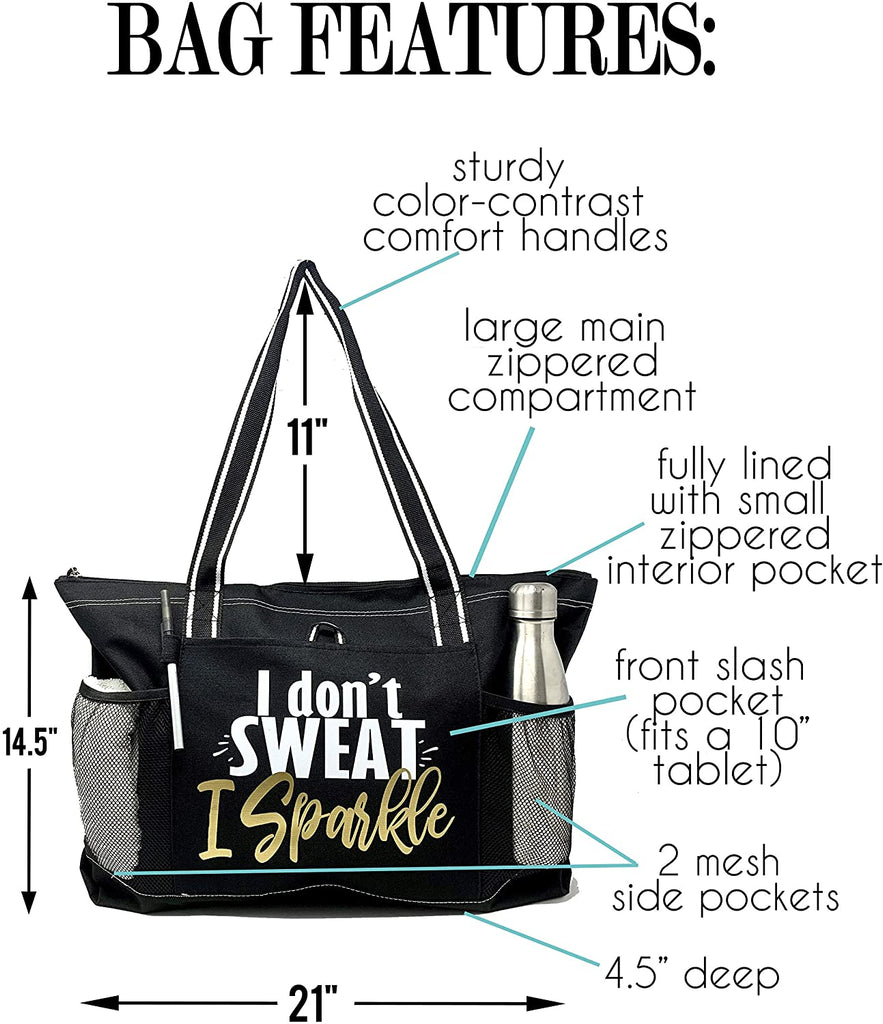 Gym Tote Bag for Women - Workout Tote - Funny Gym Fitness Sayings - Fitness Tote Bag for Women