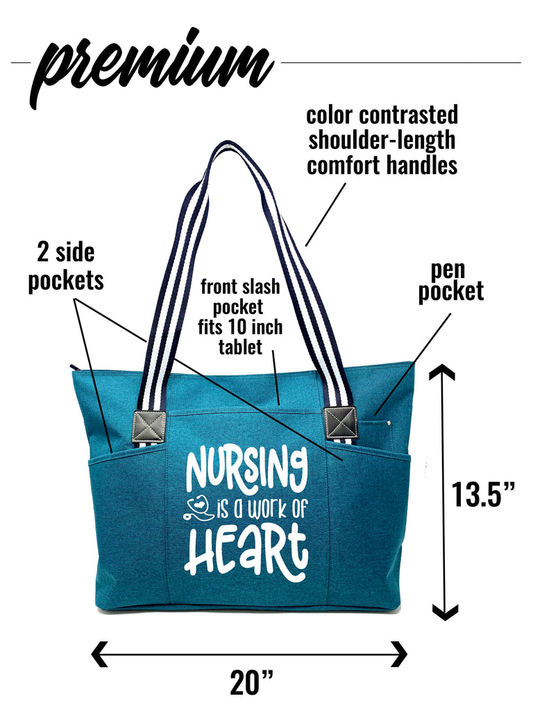 Nursing is a Work of Heart Teal Tessa Zippered Tote Bag