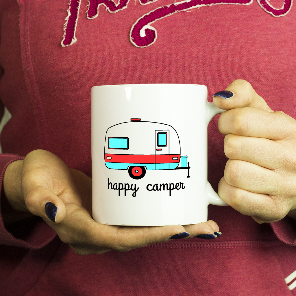Happy Camper Coffee Mug - Red & Teal Perfect gift for Outdoor lovers