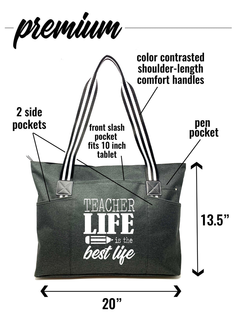 Teacher Life is the Best Life Tessa Black Tote Bag