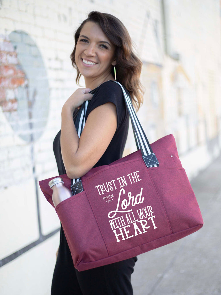 Trust In The Lord Red Tessa Tote Bag