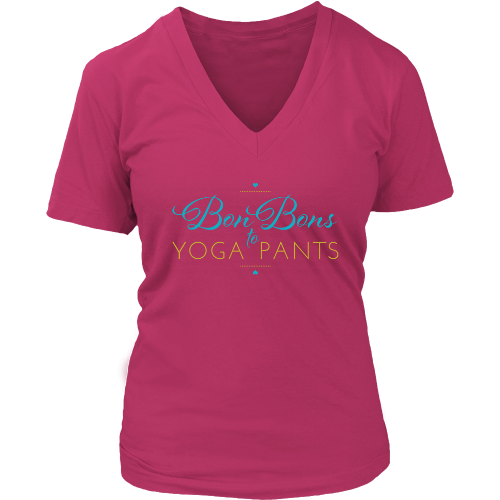 Author Katie Cross - Bon Bon to Yoga Pants V-Neck Shirt