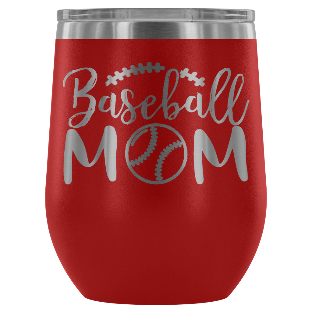 Baseball Mom - Laser Etched Powder Coated Stainless Steel 12 ounce Vacuum Tumbler -