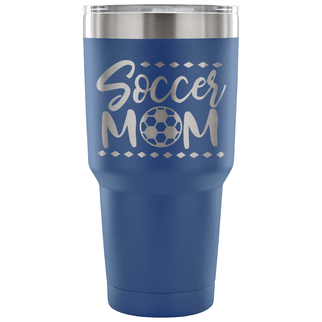 Soccer Mom - Laser Etched Powder Coated Stainless Steel 30 ounce Vacuum Tumbler -