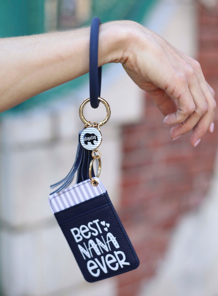 Best Nana Ever Navy Blue Silicone Bracelet Keychain Wallet