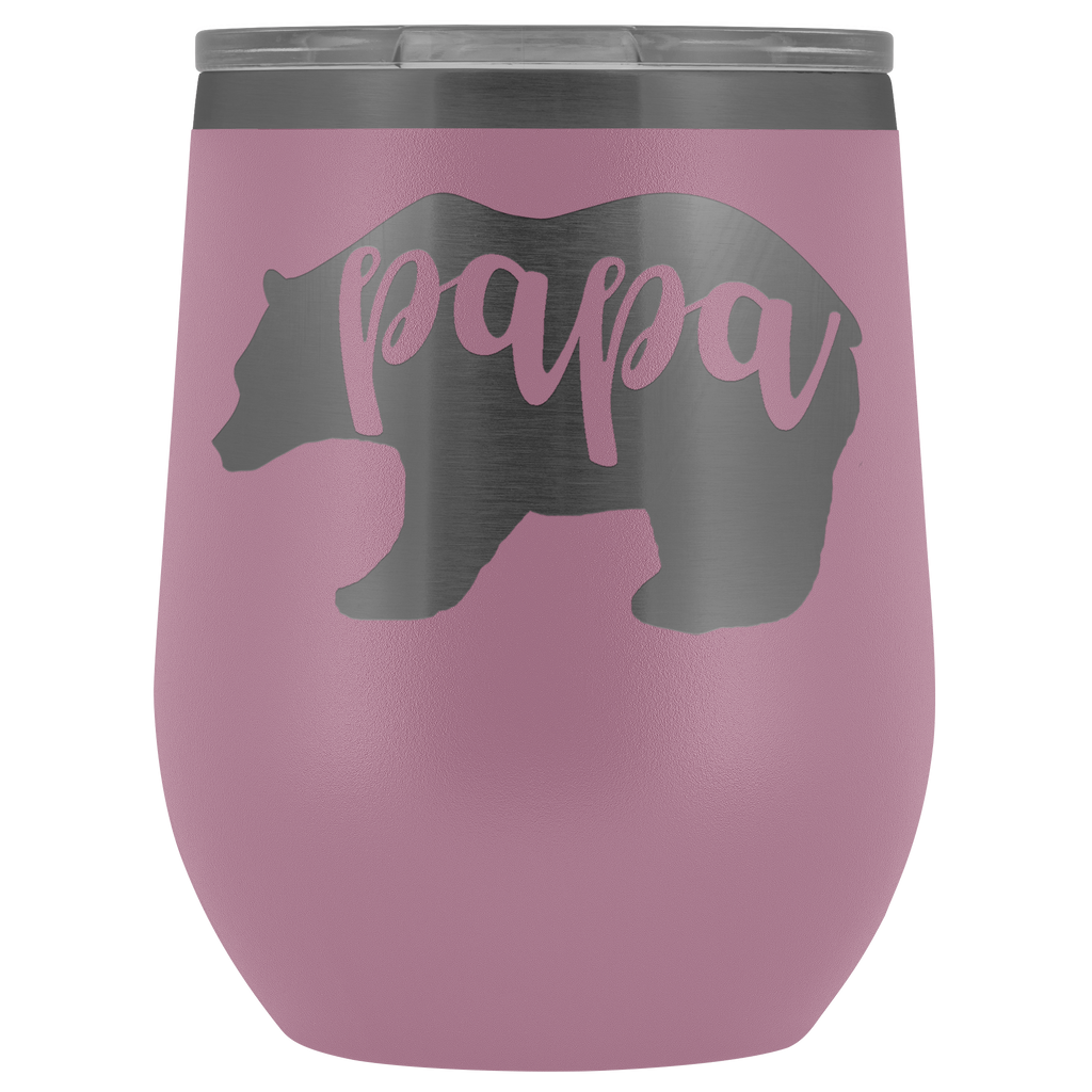 Custom-Designed Papa Bear 12 oz Vacuum Wine Tumbler - Bear Family Collection