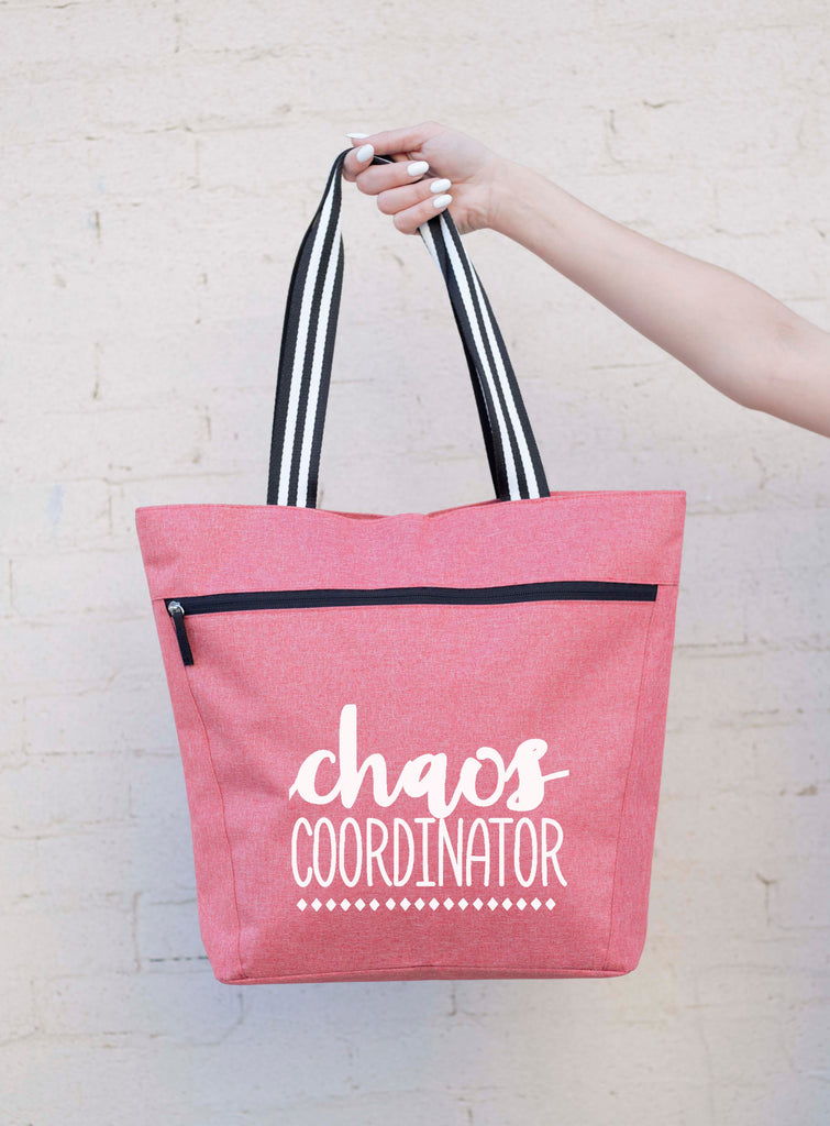 Chaos Coordinator Coral Lexie Zippered Tote Bag